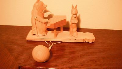 Hand Carved Wooden Bear Toy from Russia-Bear Pianist with Rabbit Singer