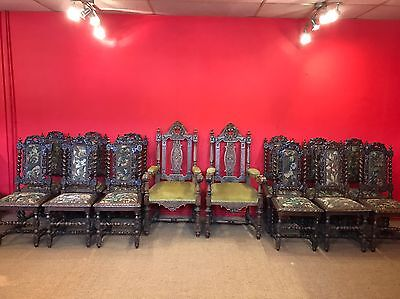 Set 14 Magnificent Victorian, Charles Ii Style Oak Chairs Pro French Polished