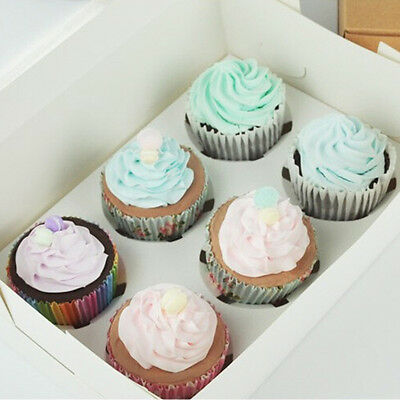 1pcs 6 Holes Cupcake Muffin Box with Clear Window for Cake Shop Home Party