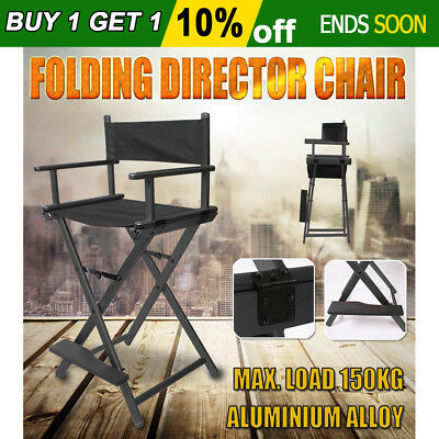 New Professional Foldable Makeup Artist Tall Director Chair Aluminum Alloy Black