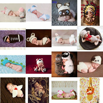 Newborn Baby Girls Boys Crochet Knit Costume Photo Photography Outfits Props