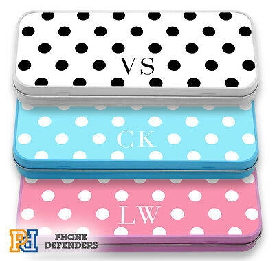 PERSONALISED POLKA DOTS DOT Name Custom Pencil Case Tin School Cosmetic Make Up