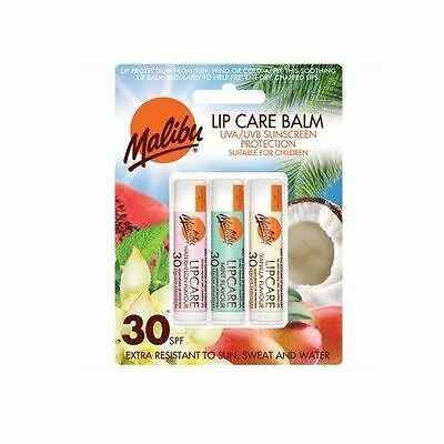 Malibu Lip Care Balm SPF30 UVA/UVB Protection 3 PACK Vanilla, Watermelon, Mint
