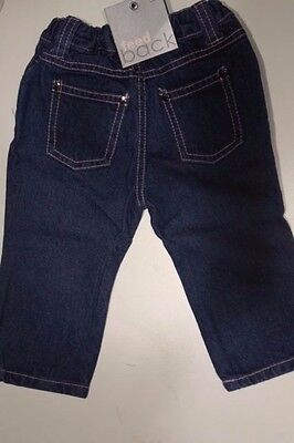 New Feedback Denim Blue Baby Girls Jeans Pants Size 0 - Adjustable Waist
