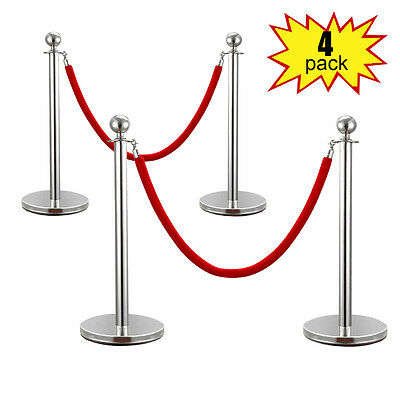 ROPE STANCHION,4 CROWN POSTS, SiLVER POLISHED w/2 ROPE