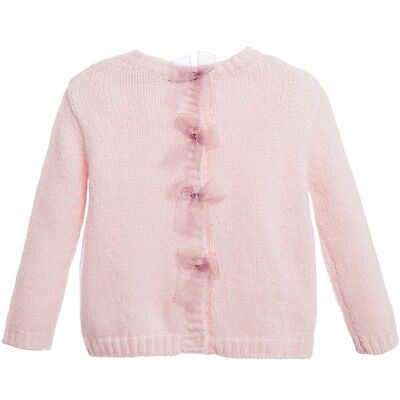 Lili Gaufrette Baby Pink Wool Knitted Bow Cardigan 2 Years