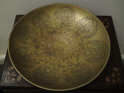 Massive size 2035 grams Early 20th century Bronze charger with nine dragons