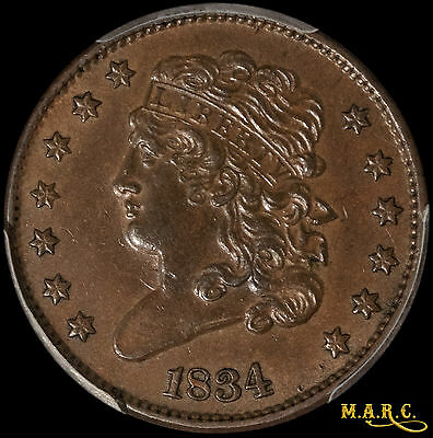 1834 AU58 PCGS 1/2C Classic Head Half Cent, Nice Even Brown Color! Free Shipping