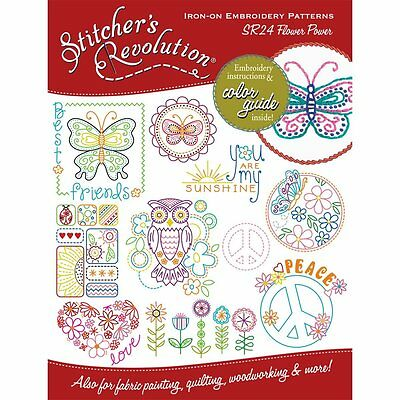Stitcher's Revolution Flower Power Iron-On Transfer Pattern for Embroidery