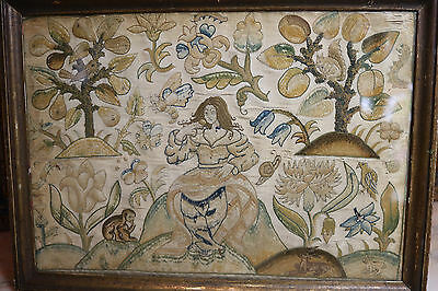 C17th English Silk Embroidery Lady in Garden Squirrel Monkey Insects  Stumpwork