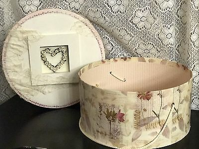 Shabby Chic Hat Box Floral Lace Chalk Paint Storage Container Decor