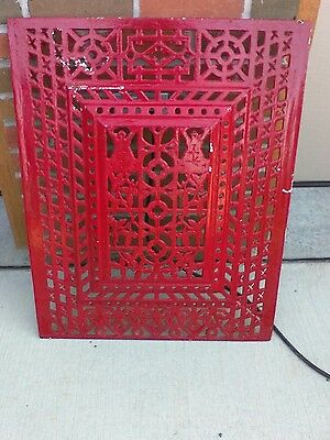 Antique Cast Iron Wall Ceiling Grate Grill raised  not flat 22 X 28 X 1 1/2 RARE
