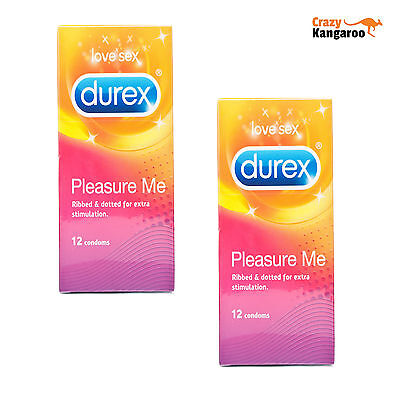 Durex Pleasure Me Condoms Pack of 24 Ribbed and Dotted Discreet Free Postage