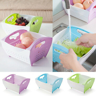 Storage Basket Plastic With Handle For Pegs Box Fruit Vegetable Kitchen Bathroom