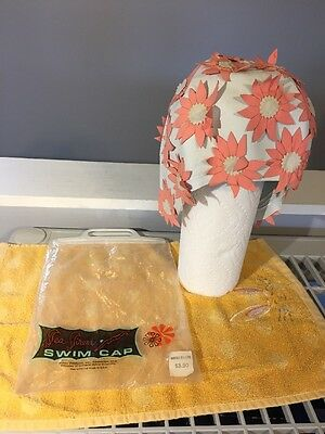Vintage White w/ Pink Flowers Womens Swim Cap  Sea Siren