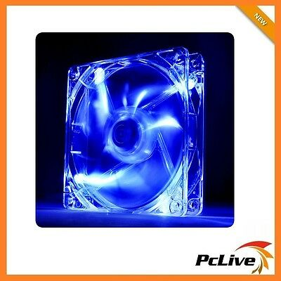 Thermaltake Pure 12 Blue LED 120mm Case Fan Quiet 12cm 3pin 4pin molex Sleeve