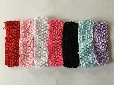 Baby Girls Super Soft Crochet Stretchy Headband Hairbands 1.5 inch  - 7 colours