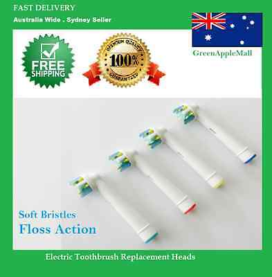 FLOSS ACTION - Oral B Compatible Electric Toothbrush Replacement Brush Heads x4