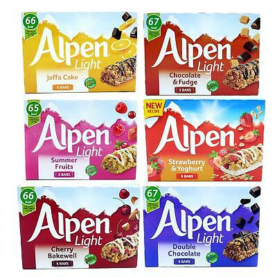 Alpen Light Jaffa Cake Fruit Cereal Bar Chocolate Snack 10 boxes of 5  (50 Bars)
