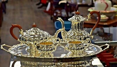 Complete Vintage Sterling Silver Tea Set 5 Pieces with Platter 3700 Grams
