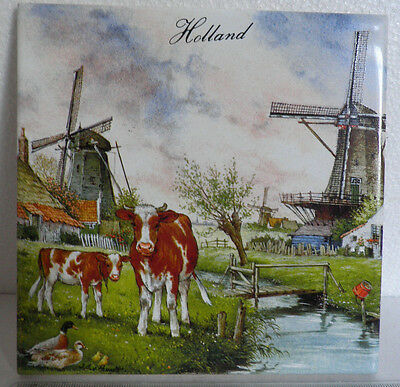 J.C.V.Hunnik decorative picture wall tile made in holland 15cm by 15cm square