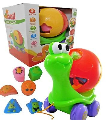 Children's Toy Pull along Crawl along Snail Shape sorter Activity Ball