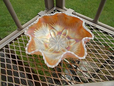 "Vintage Dugan Glass Opalescent Peach Glow Petal and Fan Ruffled 6"" Bowl"