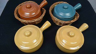 4 Vintage Soup Bowls With 2 Baskets, Made In Japan
