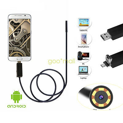 5.5/8mm 6 LED HD Mini 2in1 Endoscopio USB Endoscope Android Macchina Fotografica