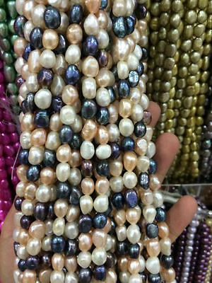 """8-9mm Natural Black White pink purple Freshwater Baroque Pearl Loose Beads 15"""""""