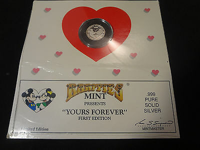 """Rarities Mint """"YOURS FOREVER"""".999 SOLID SILVER Disney 1990"""