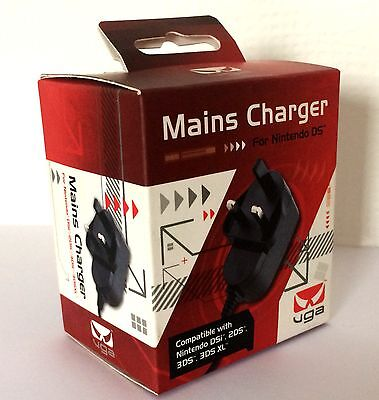 Nintendo DS Mains Charger Compatible With 2DS/3DS/DSi/3DS XL 3 PIN UK VGA