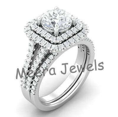 3.41Ct White Round Cut Diamond Vintage Collection Womens 14K White Gold Ring Set