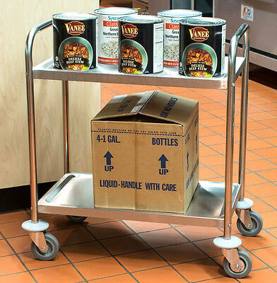 "Commercial 16"" x 28"" Stainless Steel 2 Two Shelf Utility Kitchen Bus Cart NEW"