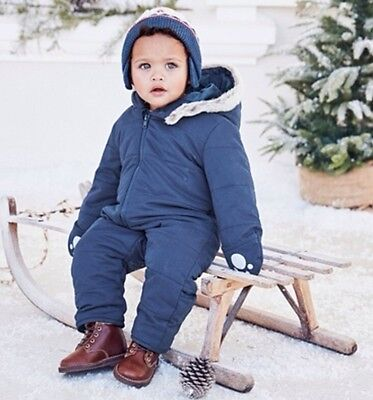 BNWT The Little White Company Boys Quilted Pram Suit/ Snow Suit - 12-18 Months