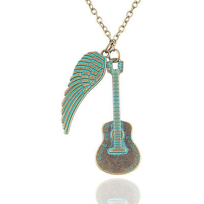 New Guitar Necklace Jewelry Charm Feather 1Pcs Pendant Vintage Wings