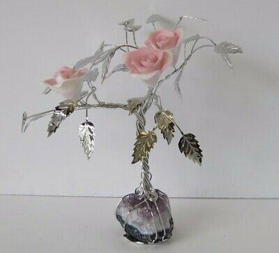Italian Silver Plated & Painted Porcelain Pale Pink Rose Tree & Rock 50N R