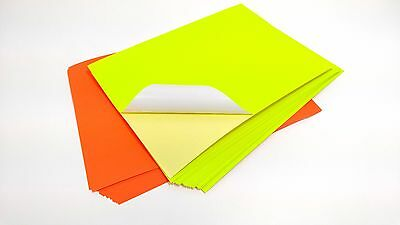 10 x A4 Neon Colour Self Adhesive Sticky Sticker Craft Labels Silhouette Paper