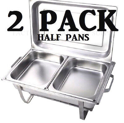 "2 PACK 2 1/2"" Deep Stainless Steel Chafing Dish Chafer Pan Half Inserts ONLY"