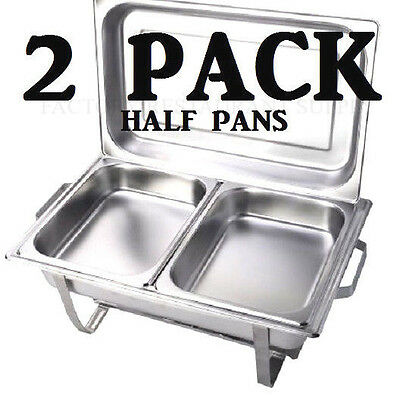 "INSERTS ONLY 2 PACK 2 1/2"" Deep Stainless Steel Chafing Dish Chafer Pan Half"