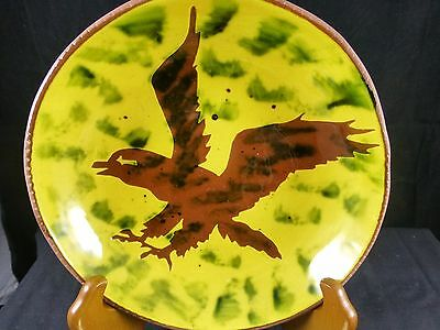 Early Lester Breininger Redware Sgrafitto Plate - Eagle 1972 - 8""