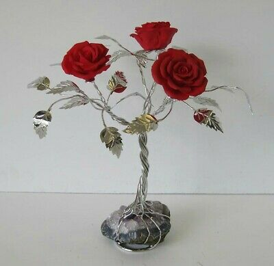 Fine Italian Silver Plate & Painted Porcelain Scarlet Rose Tree & Rock 50N Red