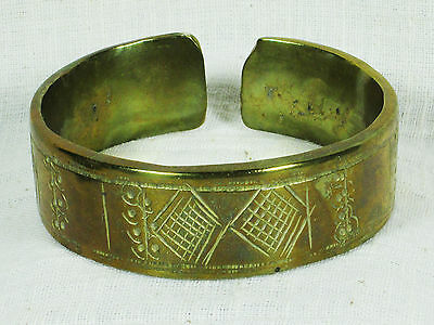 Authentic Vintage Ethiopian Solid Brass Arm Cuff Bracelet, 40+ Years Old, EUC