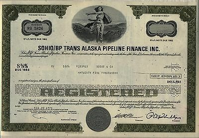 Sohio/BP Trans Alaska Pipeline Finance Bond Stock Certificate