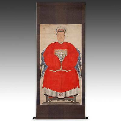 Antique Chinese Ancestor Portrait Scroll Painted Cloth Calligraphy China 19Th C