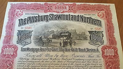 Pittsburg Shawmut & Northern Railroad Company Bond Stock Certificate Pittsburgh