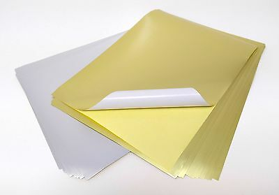 10 Sheets Gold & Silver A4 Self Adhesive Stickers Craft Silhouette Sticky Paper