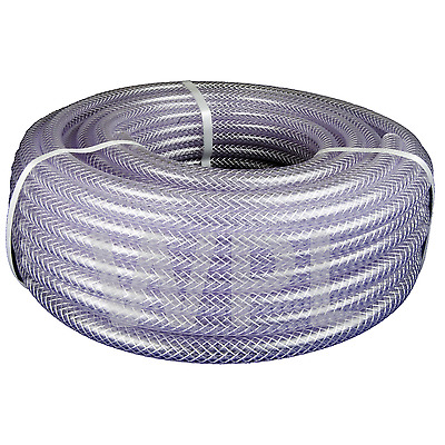 Clear PVC Braided Hose - Food Grade - Oil / Water / Gases - Reinforced Pipe Tube