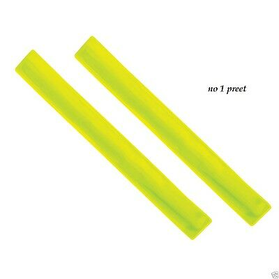 2 High Visibility Arm Slap Strap Bands - Reflective Safety Band Fluorescent Hi