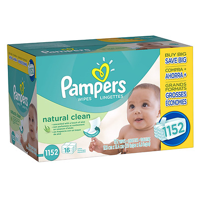 Pampers Baby Wipes Natural Clean 16X Refill 1152 count
